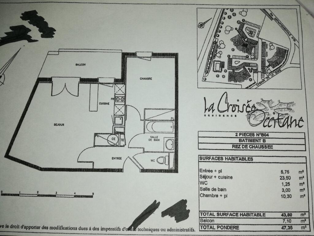 Appartement à vendre 2 43.8m2 à Castelnau-d'Estrétefonds plan-1