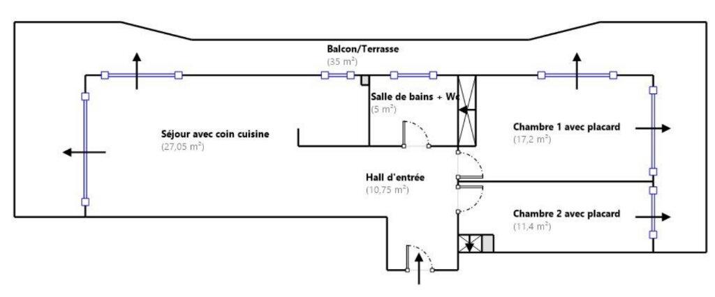 Appartement à vendre 3 71.4m2 à Menton plan-1