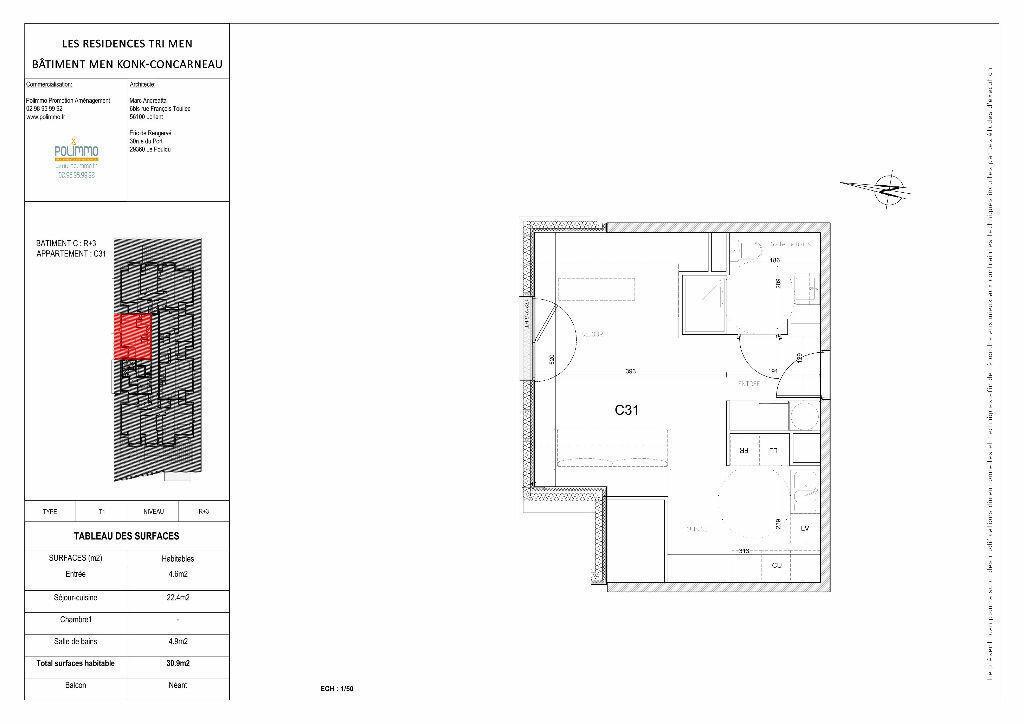 Appartement à vendre 1 30.9m2 à Concarneau vignette-3