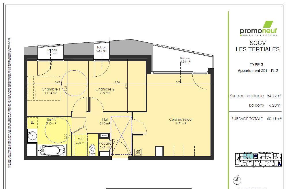 Appartement à louer 3 54.29m2 à Valenciennes vignette-2