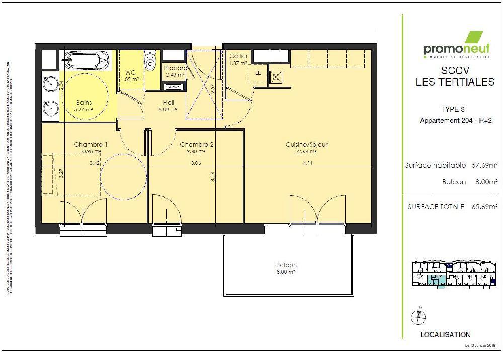 Appartement à louer 3 57.69m2 à Valenciennes vignette-2