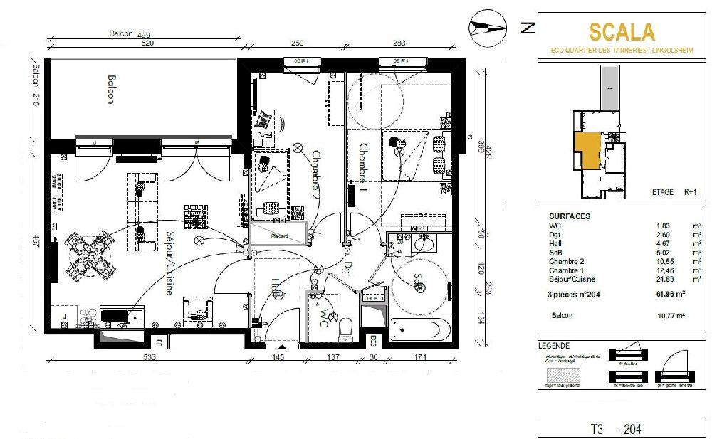 Appartement à louer 3 61.96m2 à Lingolsheim vignette-11