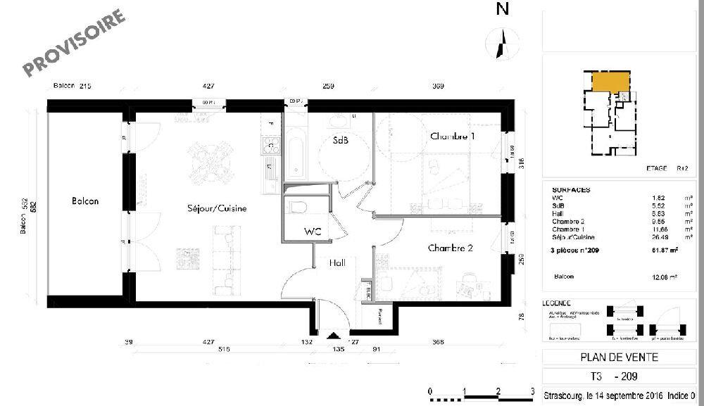 Appartement à louer 3 61.87m2 à Lingolsheim vignette-7
