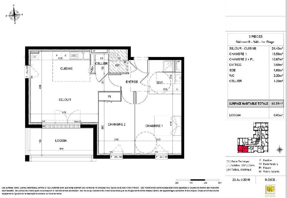 Appartement à louer 3 60.59m2 à Tours vignette-2