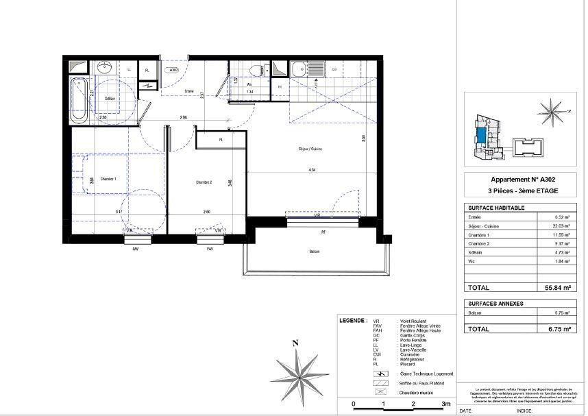 Appartement à louer 3 55.84m2 à La Riche vignette-4