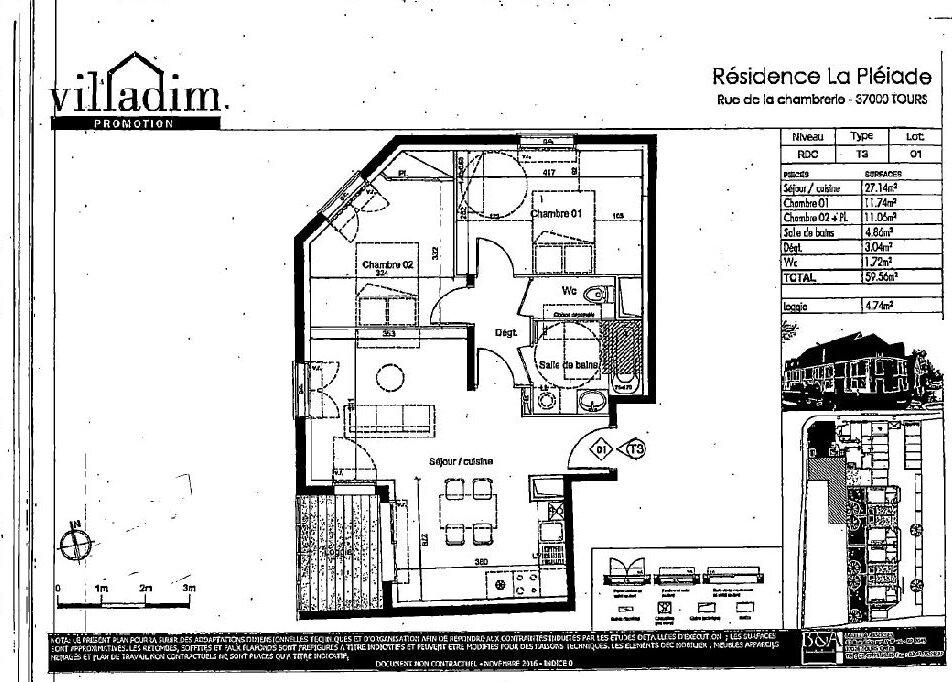Appartement à louer 3 59.56m2 à Tours vignette-2