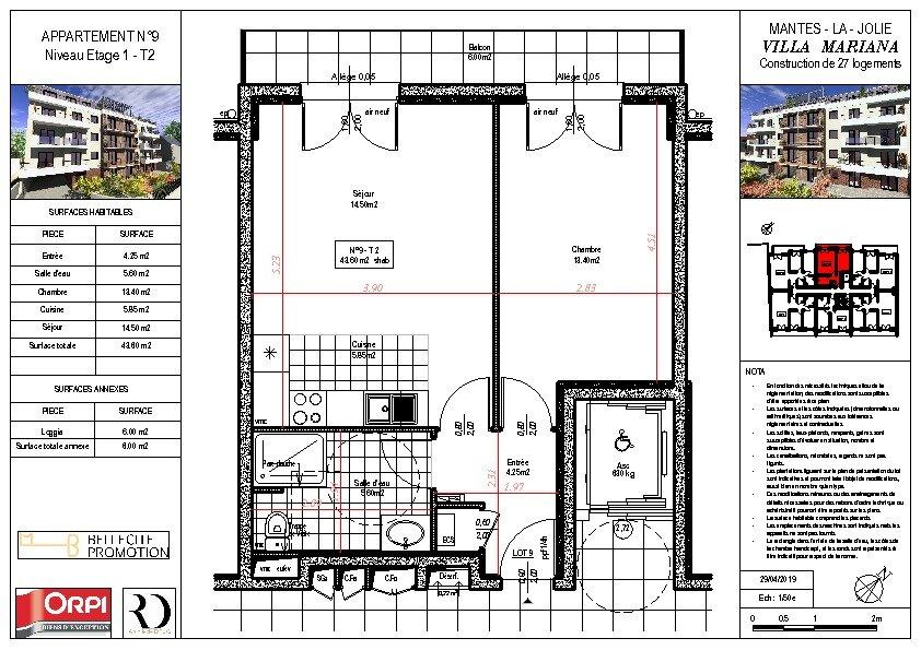 Appartement à vendre 2 43.6m2 à Mantes-la-Jolie vignette-1
