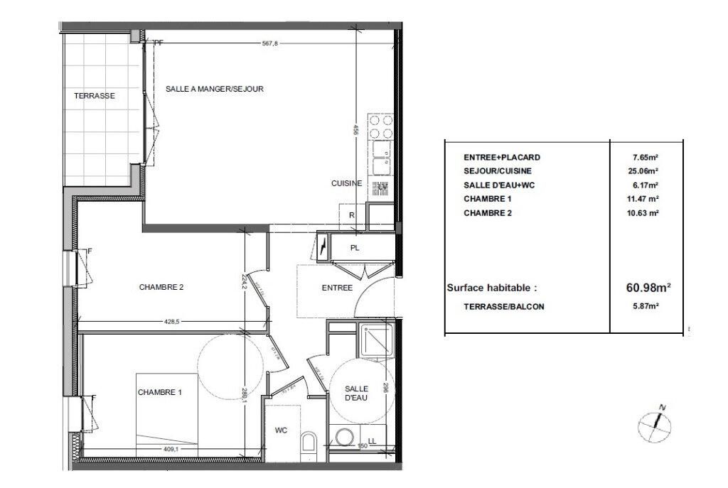 Appartement à louer 3 61m2 à Tours plan-1