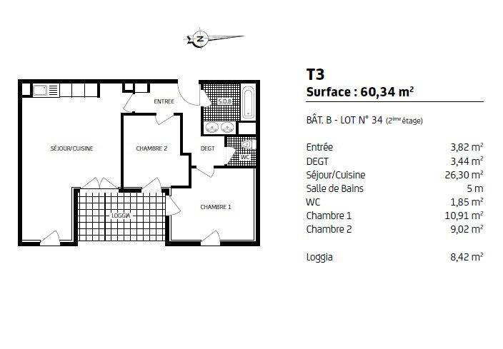 Appartement à louer 3 60m2 à Fondettes plan-1
