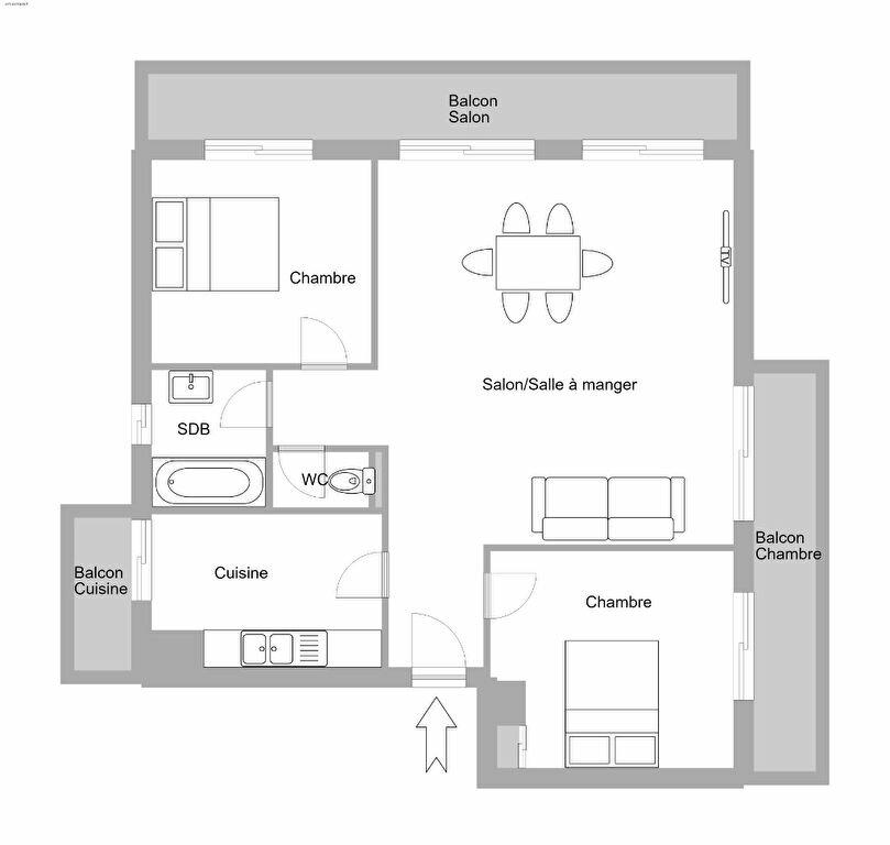 Appartement à vendre 3 63.43m2 à Antibes plan-1