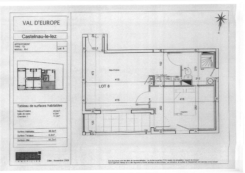 Appartement à vendre 2 37m2 à Castelnau-le-Lez plan-1