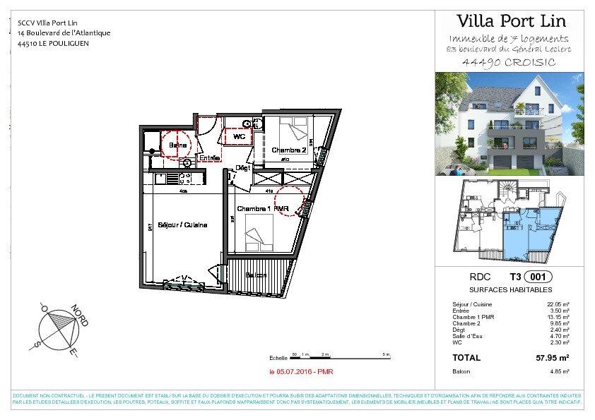 Appartement à vendre 3 57.95m2 à Le Croisic plan-1