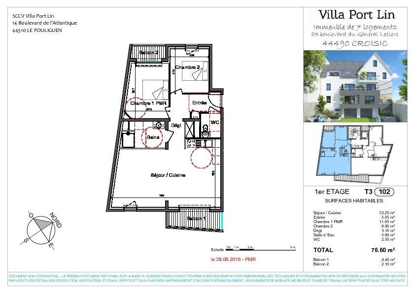Appartement à vendre 3 70.6m2 à Le Croisic plan-1