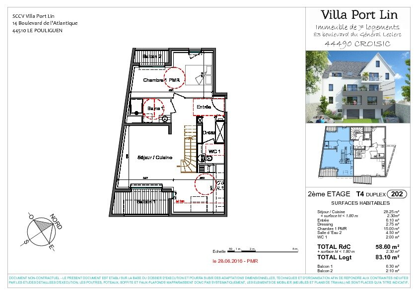 Appartement à vendre 4 83.2m2 à Le Croisic plan-1
