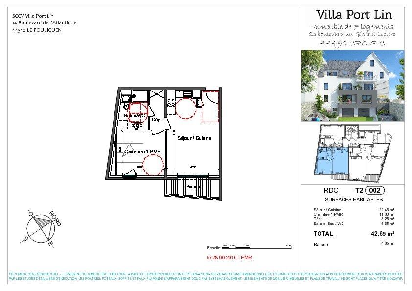 Appartement à vendre 2 42.65m2 à Le Croisic plan-1