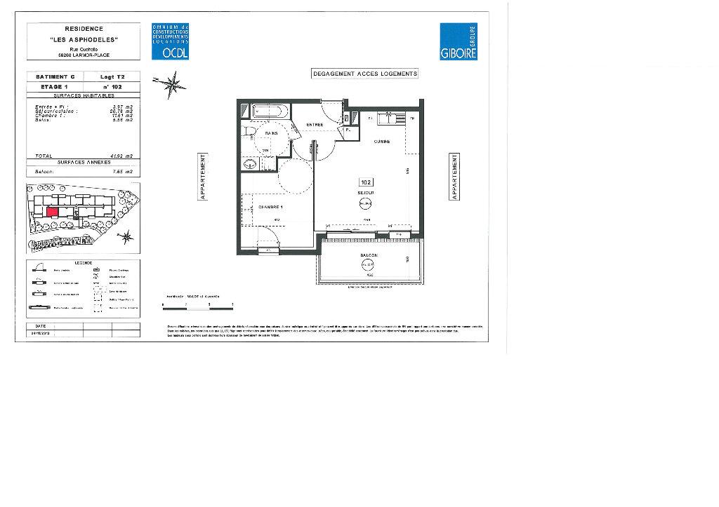 Appartement à louer 2 41.92m2 à Larmor-Plage plan-1