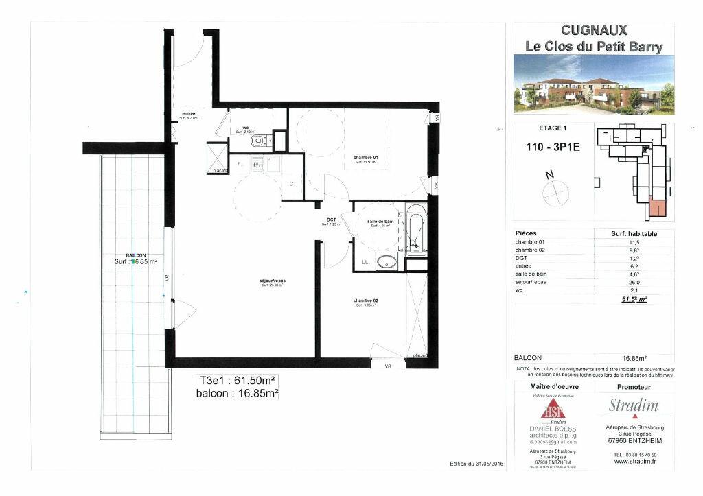 Appartement à louer 3 61.5m2 à Cugnaux vignette-5