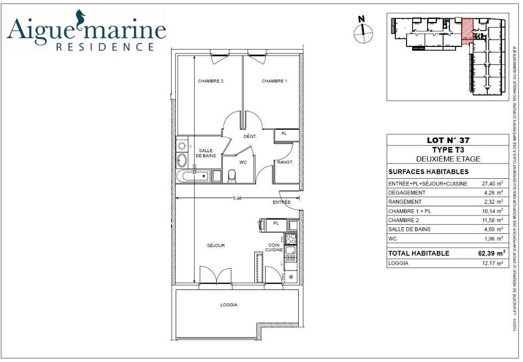 Appartement à louer 3 62.39m2 à Béziers vignette-1