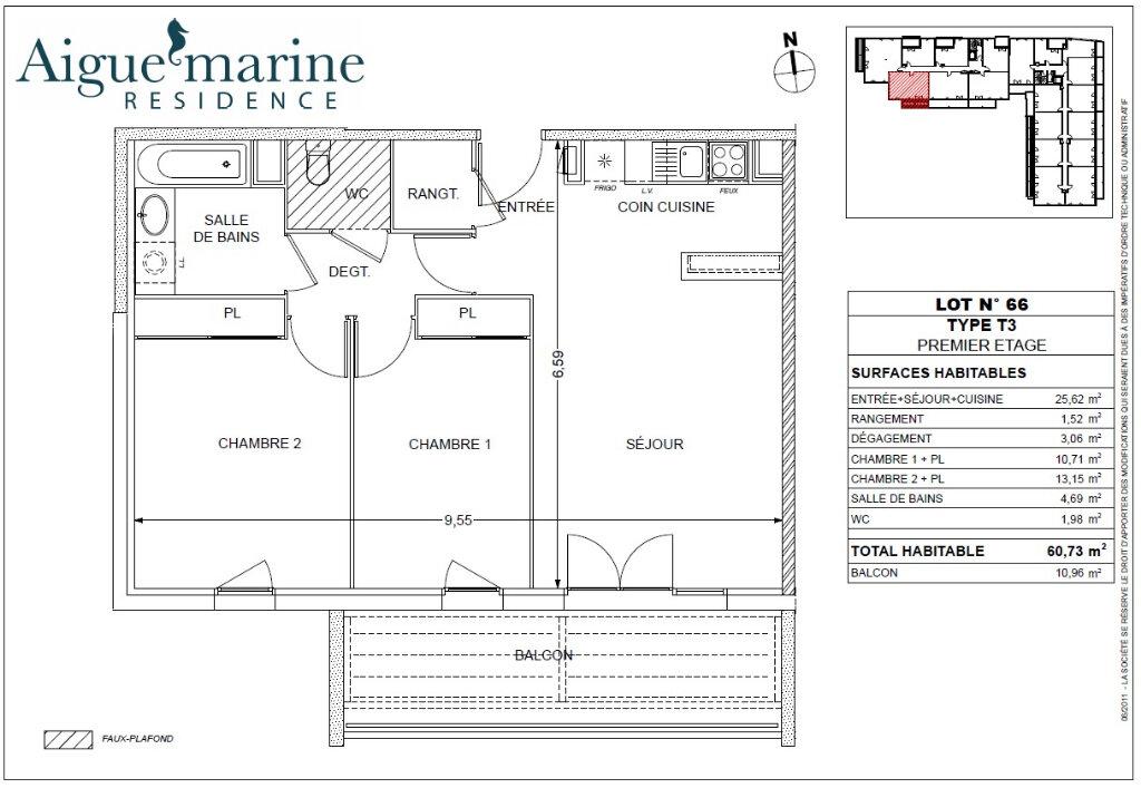 Appartement à louer 3 60.73m2 à Béziers vignette-1