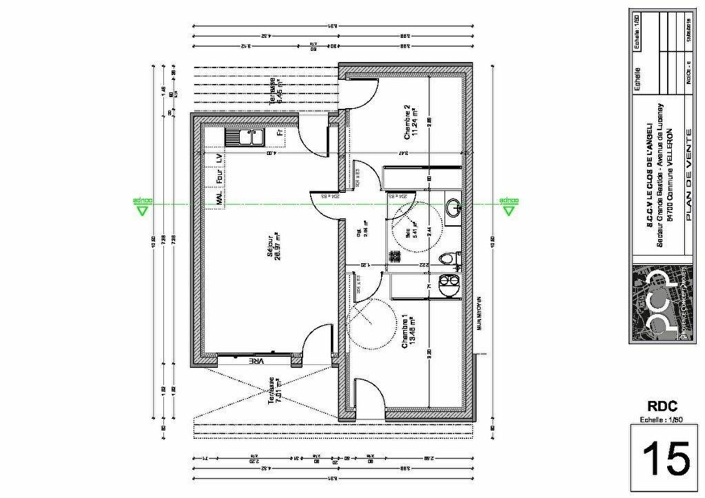 Maison à vendre 3 60.04m2 à Velleron plan-2