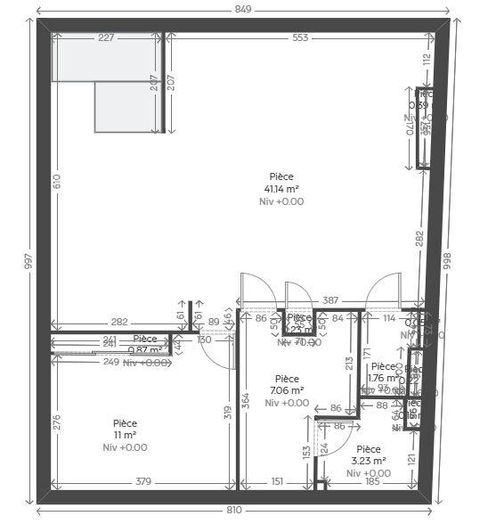Appartement à louer 2 55.76m2 à Reims plan-1