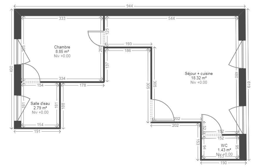 Appartement à louer 2 31.1m2 à Reims plan-1