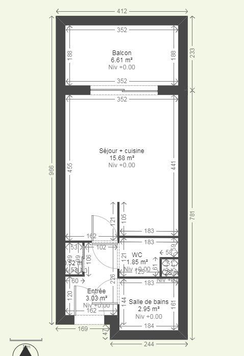 Appartement à louer 1 23.58m2 à Reims plan-1