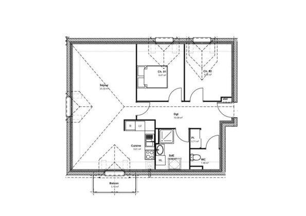 Appartement à vendre 3 62.31m2 à Anet vignette-1