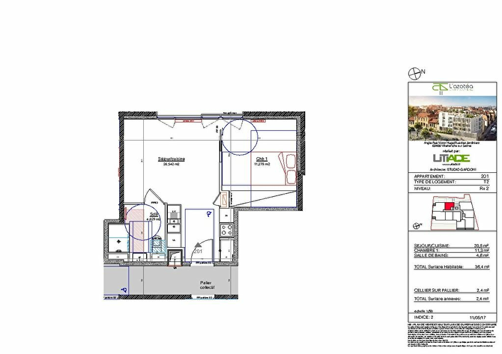 Appartement à louer 2 36.1m2 à Villefranche-sur-Saône vignette-2