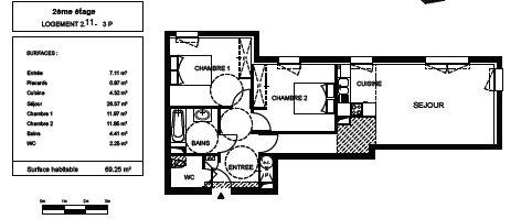 Appartement à vendre 3 69.25m2 à Fleury-les-Aubrais plan-1