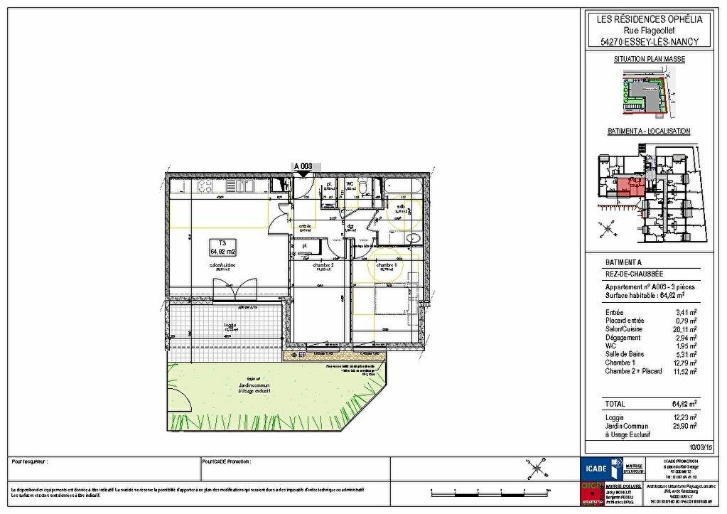 Appartement à louer 3 64.86m2 à Essey-lès-Nancy plan-1