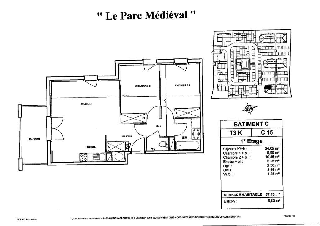 Appartement à louer 3 57.15m2 à Carcassonne plan-1
