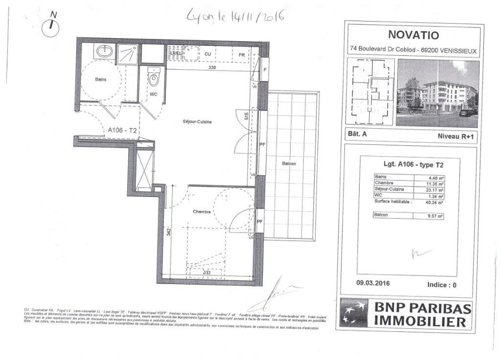 Appartement à louer 2 40.24m2 à Vénissieux plan-2