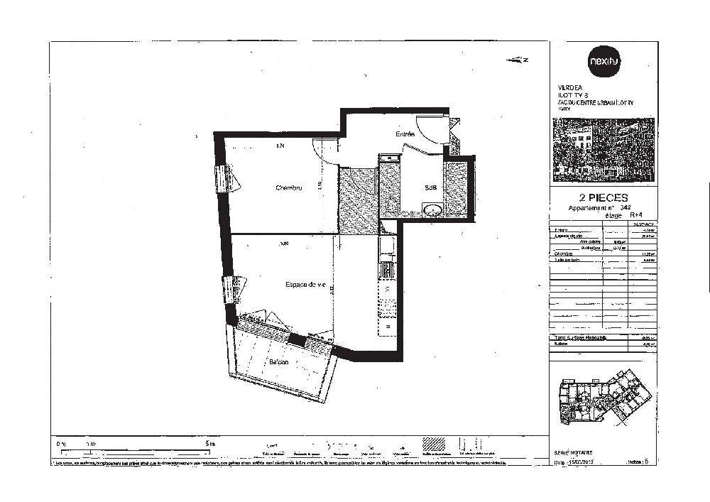 Appartement à louer 2 42.23m2 à Évry plan-1