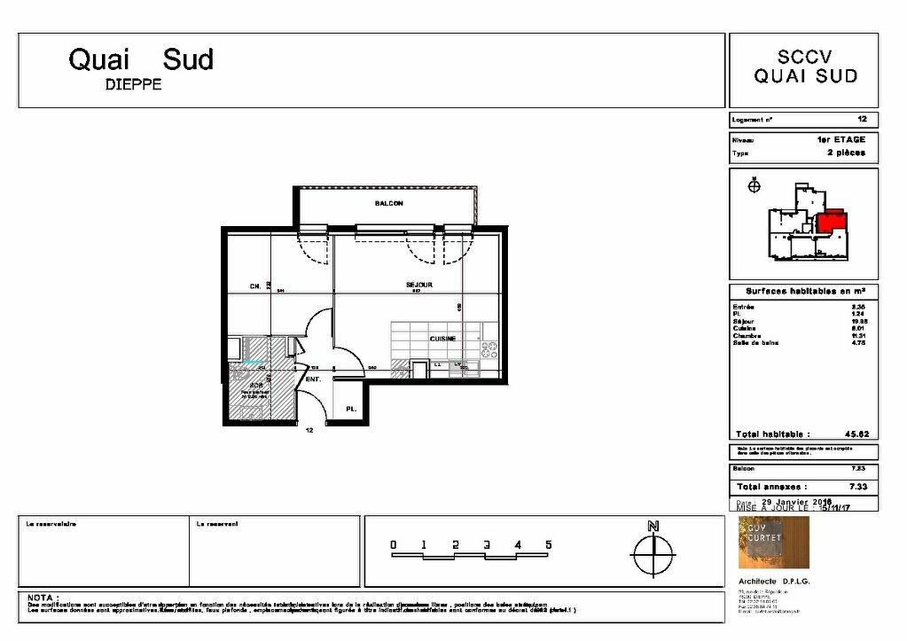 Appartement à vendre 2 45.62m2 à Dieppe plan-1