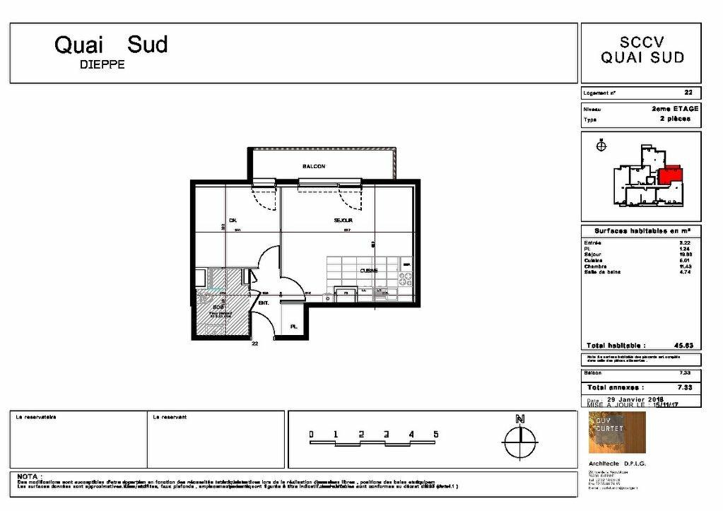 Appartement à vendre 2 45.63m2 à Dieppe plan-1