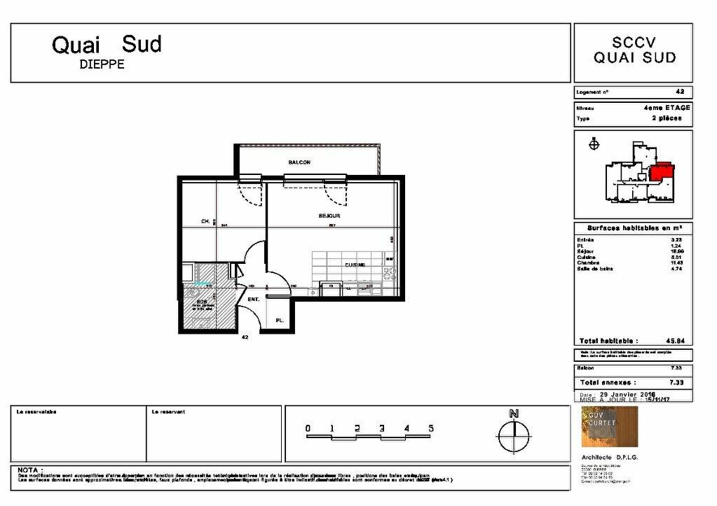 Appartement à vendre 2 45.64m2 à Dieppe plan-1