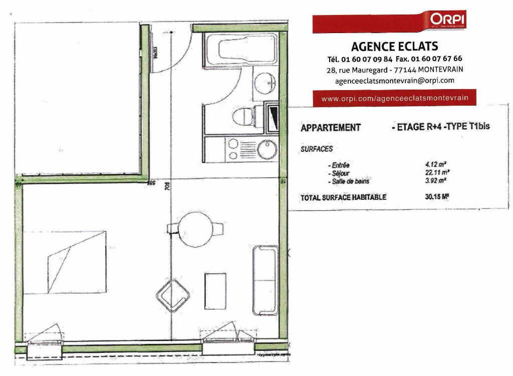 Achat Appartement 1 pièce à Montévrain - vignette-1