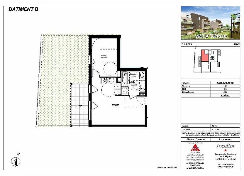 Appartement à louer 43.65m2 à Souffelweyersheim