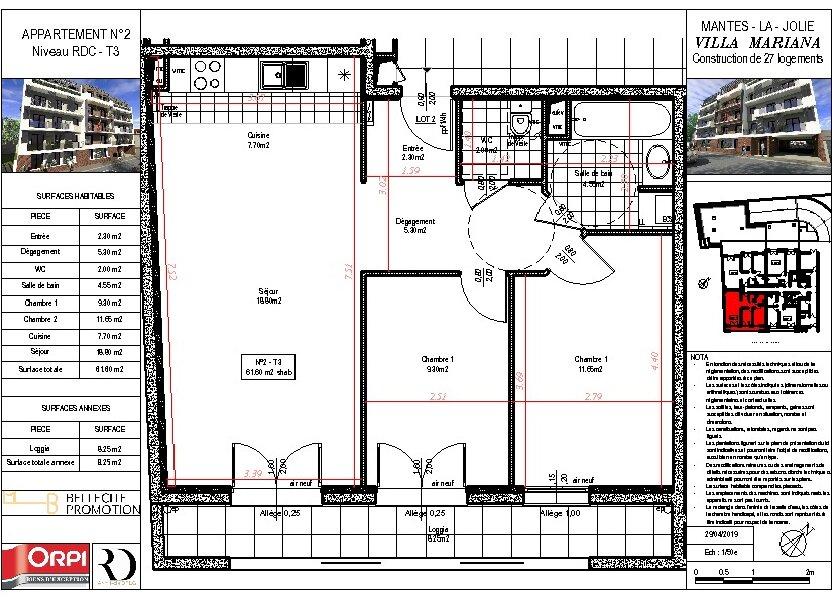 Appartement à vendre 61.6m2 à Mantes-la-Jolie