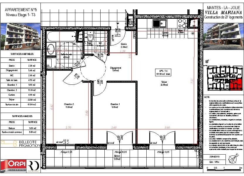 Appartement à vendre 61.9m2 à Mantes-la-Jolie