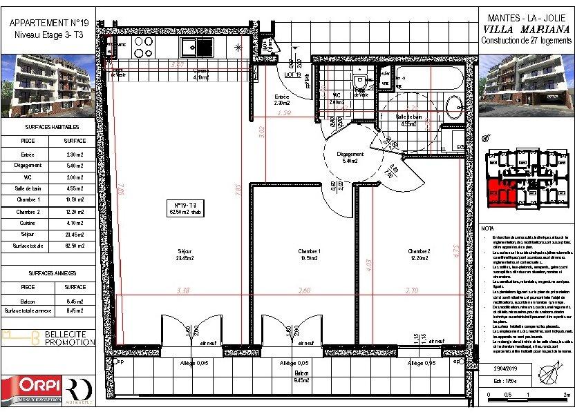 Appartement à vendre 62.5m2 à Mantes-la-Jolie