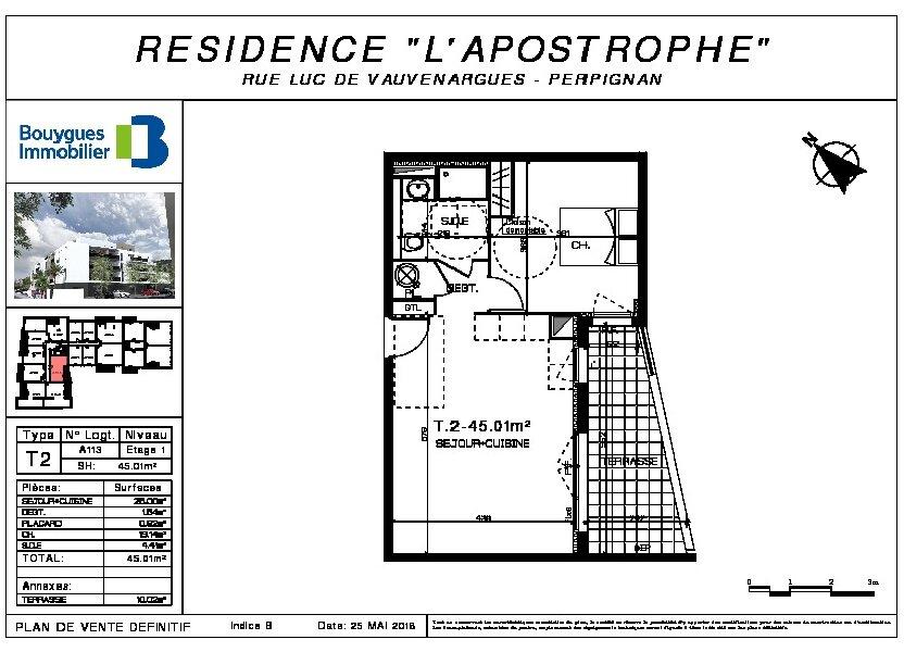 Appartement à louer 45.01m2 à Perpignan