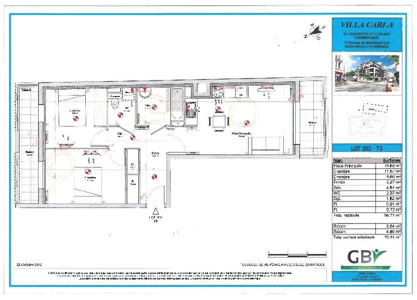 Appartement à vendre 56.71m2 à Neuilly-Plaisance