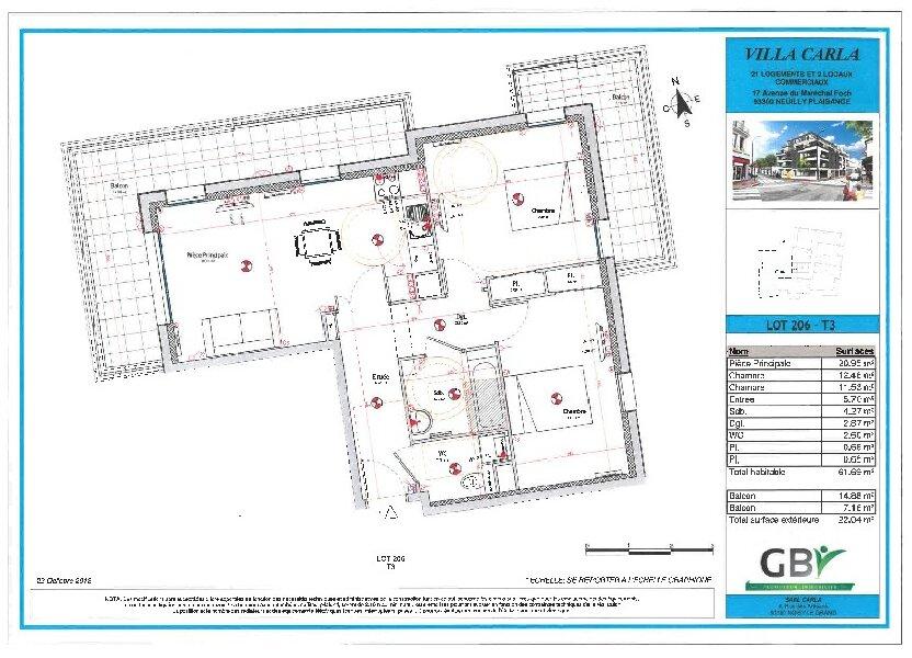 Appartement à vendre 61.69m2 à Neuilly-Plaisance