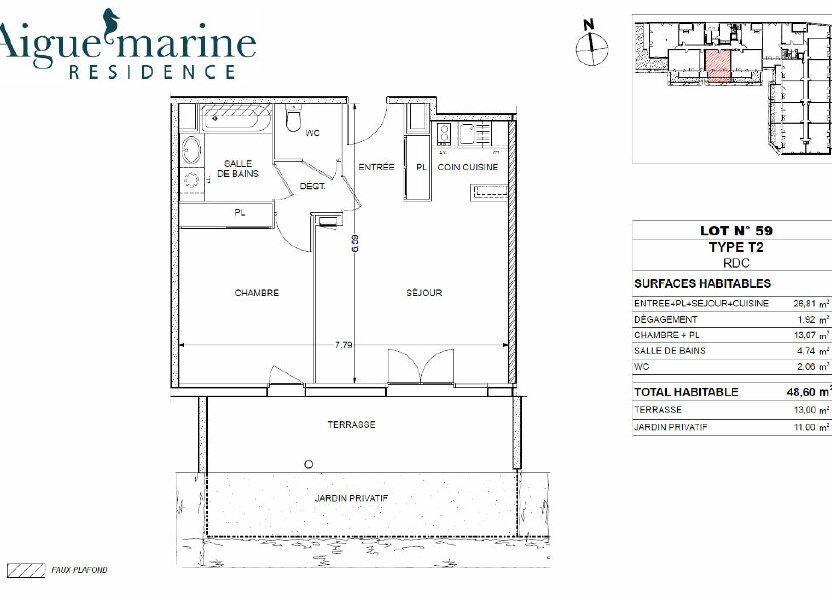 Appartement à louer 48.6m2 à Béziers