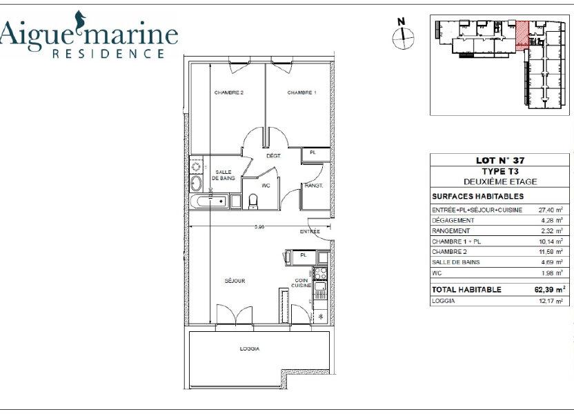 Appartement à louer 62.39m2 à Béziers