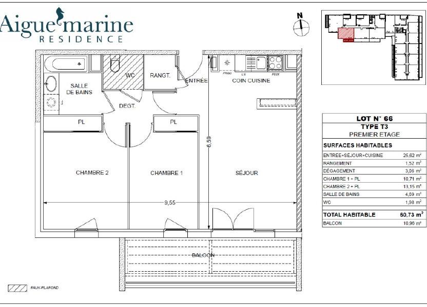 Appartement à louer 60.73m2 à Béziers