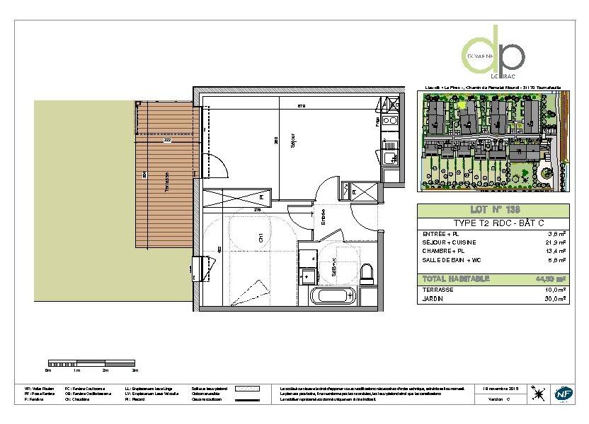 Appartement à louer 44.5m2 à Tournefeuille