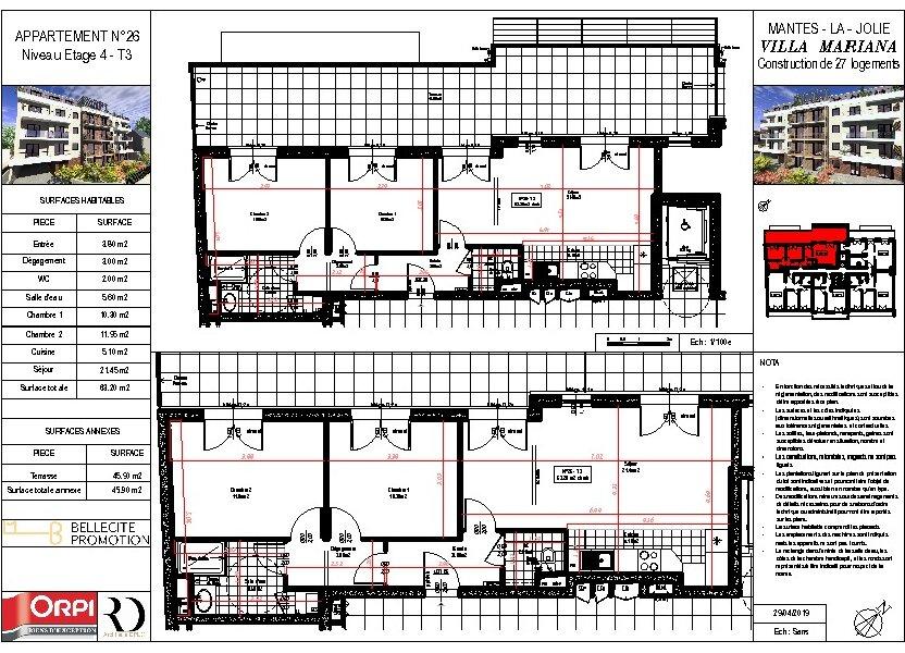Appartement à vendre 63.69m2 à Mantes-la-Jolie